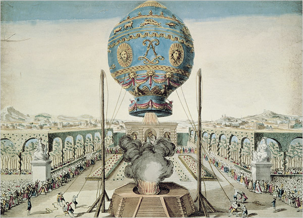 A 1783 drawing of the first hot-air balloon to take men aloft. It was designed by the French brothers Joseph Michel and Jacques Étienne Montgolfier.