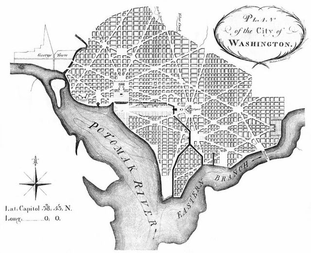 """Andrew Ellicott's 1792 revision of L'Enfant's plan of 1791–1792 for the """"Federal City"""" later Washington City, District of Columbia."""