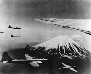 B-29s in formation near Mt. Fuji