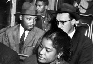 MLK Riding the Integrated Bus in 1956