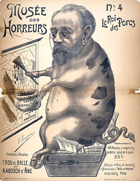 Emile Zola depicted as a pig painting with his own excrement