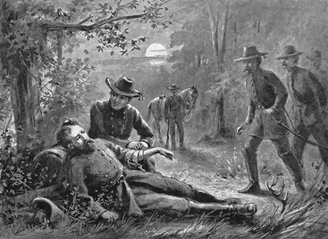 A full Moon illuminates the scene as General A. P. Hill binds the wounds of Stonewall Jackson minutes after the fatal volley at Chancellorsville. (Robert K. Krick)