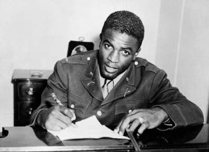 Jackie Robinson in military uniform, 1945