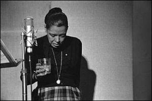 Billie Holiday, recording studio, N.Y.C. 1959. (c) The Milton J. Hinton Photgraphic Collection