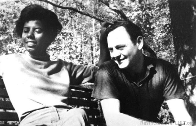 Lorraine Hansberry and Robert Nemiroff in the backyard of their home in Croton-on-Hudson
