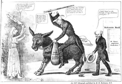 1837 lithograph believed to be the first ever image associating the jackass with Jackson's party.
