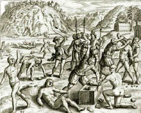 Christopher Columbus' Soldiers Chop the Hands off of Arawak Indians who Failed to Meet the Mining Quota