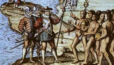 16th century depiction of Christopher Columbus landing in America. Theodore de Bry, Reisen in Occidentalischen Indien (Frankfurt, ca. 1590-1630). Copper plate engraving.