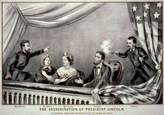 Currier and Ives depiction of Lincoln's assassination. L-to-r: Maj. Rathbone, Clara Harris, Mary Todd Lincoln, Pres. Lincoln, and Booth