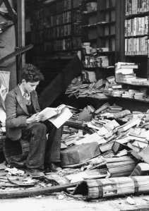 Ruins of a London Bookshop after an air raid on October 8, 1940