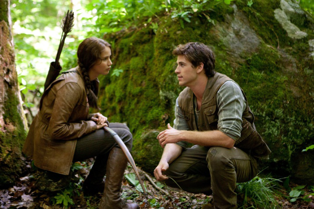 Katniss with Gale, in the movie version