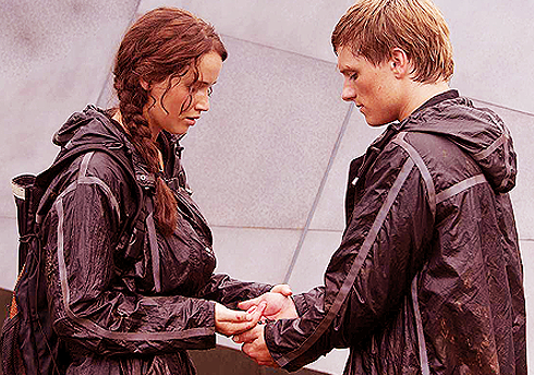Katniss and Peeta in the movie version, during the games