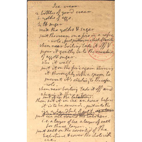 Thomas Jefferson's handwritten recipe for vanilla ice cream , now housed at the Library of Congress.