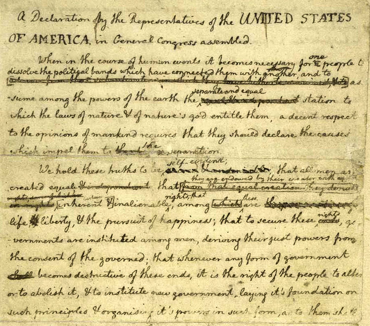 the major changes from the original draft of the united states declaration of independence by thomas When the first draft of the declaration of independence was presented to the thomas jefferson, the when the first draft of the declaration of independence.