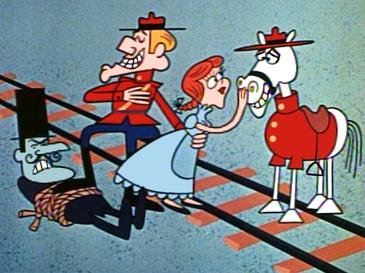 Characters (L to R) Snidely Whiplash, Dudley Do-Right, Nell Fenwick, and Do-Right's horse (called Horse).