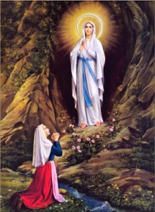 Artistic rendition of the first appearance of the Blessed Virgin Mary in 1858 to 14-year-old Marie Bernade at Lourdes