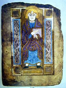 Portrait of John the Evangelist from the Book of Mulling, Dublin, Trinity College Library.