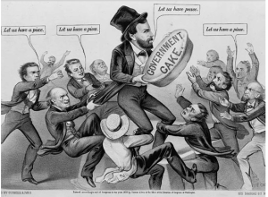 Political cartoon lampooning the corruption around Grant