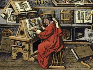 From Britannica:  A French scholar works on a manuscript in a monastery, in a painting from about 1480. During the Middle Ages, monasteries and cathedrals were the guardians of classical learning, and many had large libraries.
