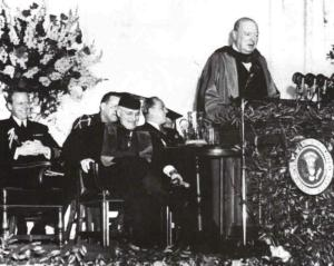 Winston Churchill's delivering his Iron Curtain speech in 1946