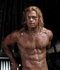 Brad Pitt as Achilles in the movie Troy.  Really, what could anyone see in him?