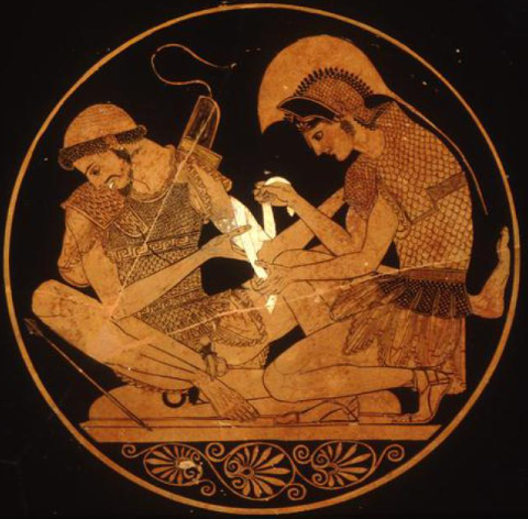 Achilles dresses the wound of Patroclus. Vase painting, 5th century B.C.E.