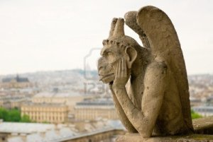 A lovely chimera atop Notre Dame Cathedral in Paris