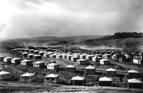 Temporary Housing (Hutments) fill the formerly empty valleys of Oak Ridge in 1945