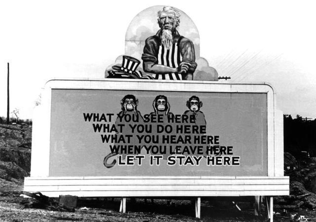 A billboard posted in Oak Ridge, Tennessee, on December 31, 1943
