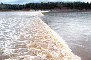 A tidal bore wave arriving in Canada's Bay of Fundy