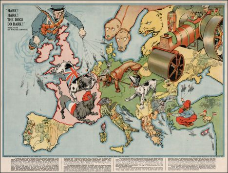 In this 1914 British lithograph, Britain is shown as a bulldog, France as a poodle, Germany as a dachshund, Austria-Hungary as a nogrel, Serbia by a wasp, and Russia by a steamroller