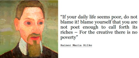 Posters of Rilke fill college dorms.  This one includes a portrait done in 1906 by Paula Modersohn-Becker, an early expressionist painter