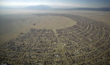 Aerial view of the Burning Man festival in the Black Rock Desert of Nevada August 30, 2012