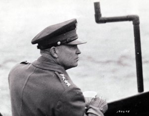 The supreme commander of Allied forces in Western Europe, General Dwight D. Eisenhower, crossing the English Channel en route to Normandy from southern England on June 7, 1944