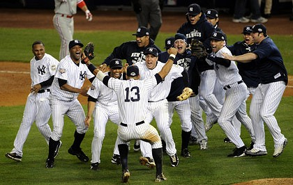 New York Yankees win the 2009 World Series, one of 27 wins (so far) by the Yankees