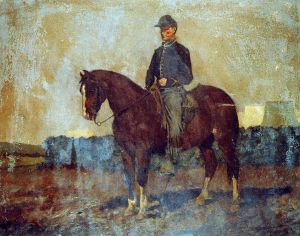 Cavalry orderly painting from 1864 by Edwin Forbes