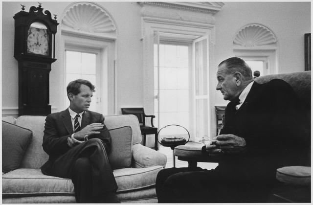 Bobby Kennedy and Lyndon Johnson in 1966, pretending to get along