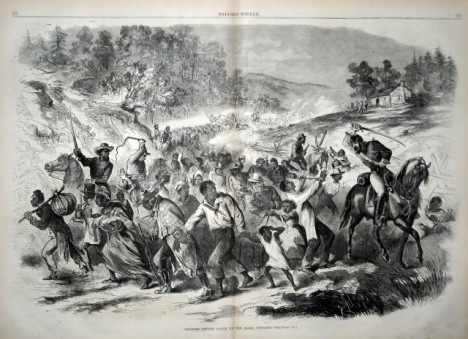 """""""Negroes Driven South By The Rebel Officers,"""" Harper's Weekly, November 8, 1862."""