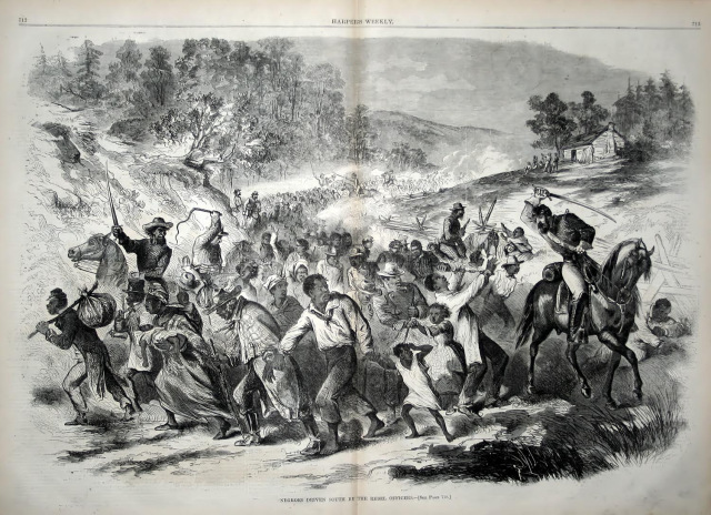 """Negroes Driven South By The Rebel Officers,"" Harper's Weekly, November 8, 1862."