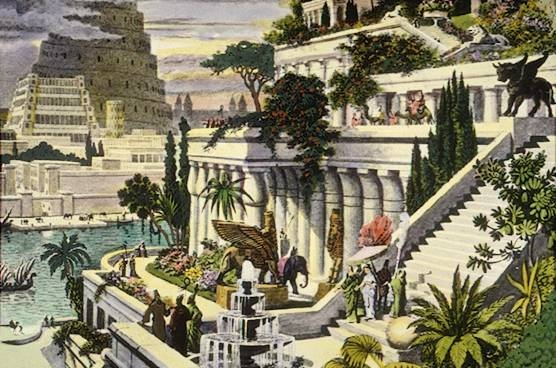 19th C. engraving depicting the fabled Hanging Gardens of Babylon, one of the Seven Wonders of the World.