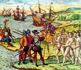 "The Arawak Indians greeting Columbus, who noted in his journal, ""They would make fine servants."""
