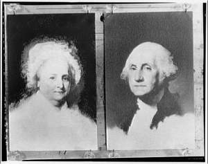 George and Martha Washington portraits. George and Martha Washington, from unfinished painting by Gilbert Stuart