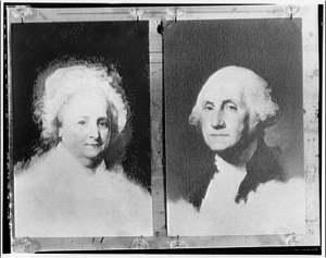 George and Martha Washington portraits. George and Martha Washington, from unfinished painting by Gilbert Stuart
