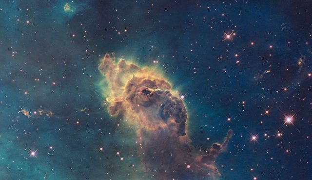 The Carina Nebula, located 7500 light-years away, as captured by the Hubble Space Telescope