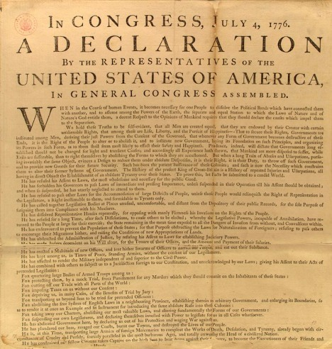 Library of Congress photo of the only surviving fragment of the broadside of the Declaration of Independence printed by John Dunlap and sent on July 6, 1776, to George Washington by John Hancock, President of the Continental Congress in Philadelphia.