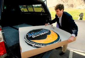 50-pound MoonPie served to revelers on Dec. 30, 2008, in downtown Mobile