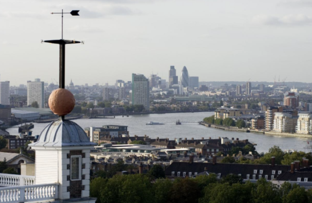 Time Ball at Royal Observatory, Greenwich and view of river Thames