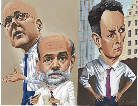 Henry Paulson, Ben Bernanke, and Timothy Geithner. Illustration by Mark Ulriksen for New Yorker Magazine
