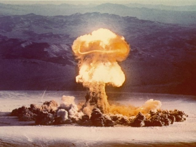 Nuclear bomb test conducted at the Nevada Test Site in 1957