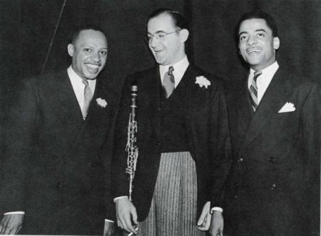 L-R:Lionel Hampton, Benny Goodman and Teddy Wilson. Photo by John W. Mosley, courtesy Charles L. Blockson Afro-American Collection, Temple University Libraries